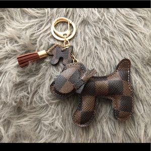 🐶Cute Doggie Damier Ebene Key Charm
